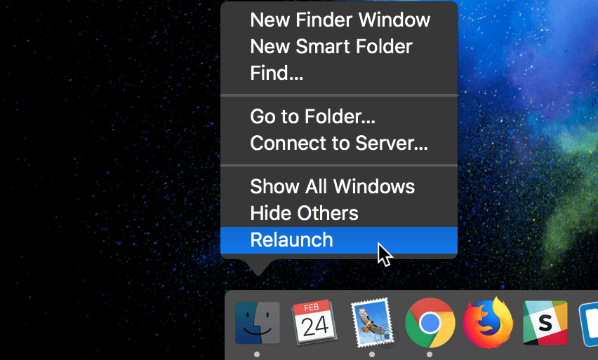 Relaunch finder on macOS