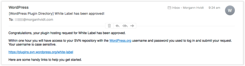 WordPress white label accepted wordpress.org