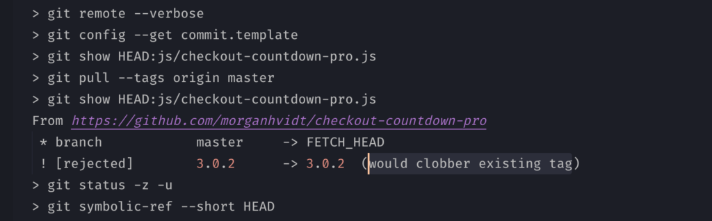 Screenshot of clobber tag in VS Code