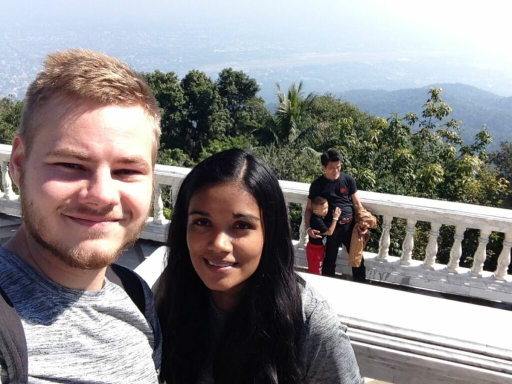 Morgan and Larisa selfie at Chiang Mai Temple